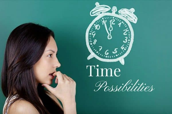 Woman looking concerned about time