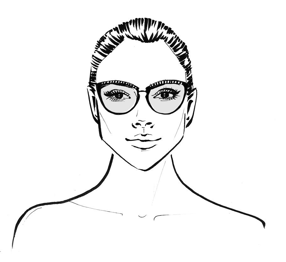 diamond face shape wearing glasses