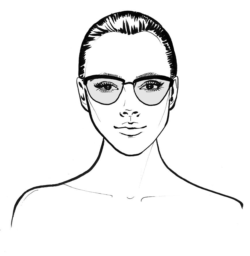 heart face shape wearing glasses