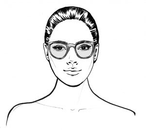 oval face shape wearing glasses