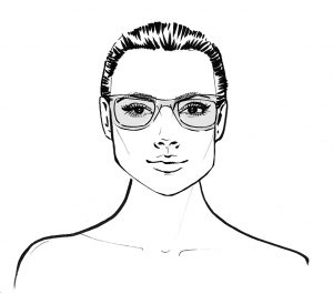Square face shape wearing glasses