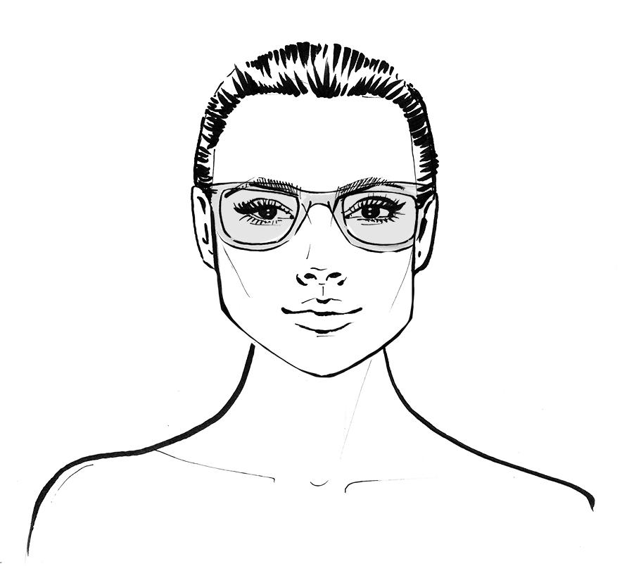 Square face shape wearing glasses