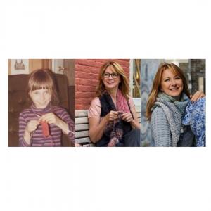 Girl knitting and lady knitting