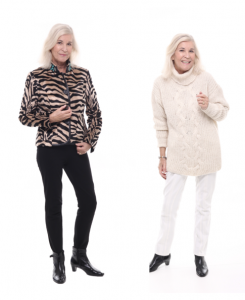 Blonde woman wearing two different outfits